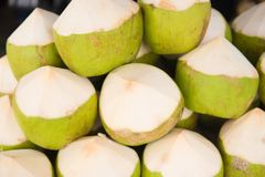 Fresh coconuts. At the market in Thailand Royalty Free Stock Photo