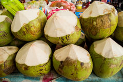 Fresh coconuts in the market. Tropical fruit fresh. Coconut Royalty Free Stock Images