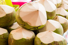 Fresh coconuts in the market. Tropical fruit fresh. Coconut Stock Photo