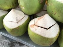 Fresh Coconuts Slightly Cut Open Lid Stock Photography