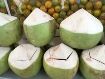 Fresh Coconuts Slightly Cut Open Lid. Ready for Drink Stock Photos