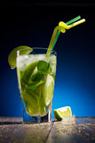Fresh coctail with lime and mint Stock Photo