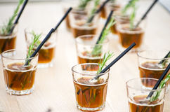 Fresh coctails in glass with straws Stock Photography