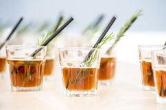 Fresh coctails in glass with straws Royalty Free Stock Images