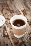 Fresh Cofee on Wooden Surface Royalty Free Stock Photography