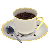 Fresh Coffee. 3D illustration of a cup filled with fresh coffee beans Stock Photography