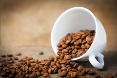 Fresh coffee advertisement. White cup with fair-trade coffee beans on wooden desk against warm blurry background stock image