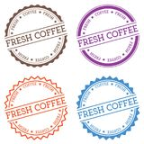 Fresh coffee badge isolated on white background. Flat style round label with text. Circular emblem vector illustration Royalty Free Stock Photos