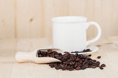 Fresh coffee bean and  spoon Stock Photography