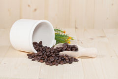 Fresh coffee bean on wood Stock Images