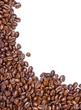 Fresh coffee beans. On a white background with room for text Royalty Free Stock Photography