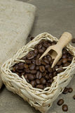 Fresh coffee beans in a basket Stock Image