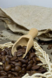 Fresh coffee beans in a basket Royalty Free Stock Images
