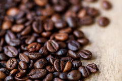 Fresh Coffee Beans Caffeine Roasted Brown Espresso wallpaper close up.  royalty free stock images
