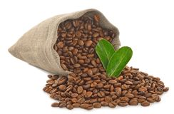 Fresh coffee beans. In a bag isolated on white background Stock Photo