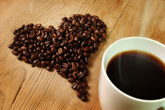 Fresh Coffee beans Heart Stock Photography