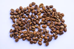 Fresh coffee beans. Coffee beans isolated on white royalty free stock photography