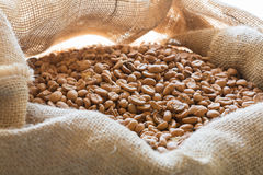 Fresh coffee beans. In a sack Stock Photo