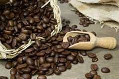 Fresh coffee beans with scoop Stock Photos
