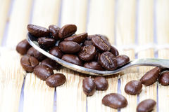 Fresh coffee  beans in spoon Stock Photos