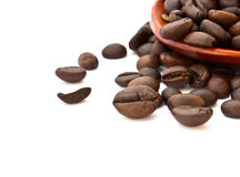 Fresh coffee beans with wooden spoon Royalty Free Stock Photography