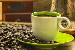 Fresh coffee from bio coffee beans prepered in Turkish coffee po Royalty Free Stock Image