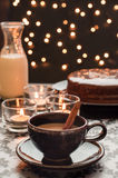Fresh coffee with bokeh lights background. Stock Photo