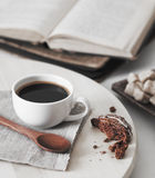 Fresh coffee with book Royalty Free Stock Image