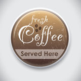 FRESH COFFEE. Button Badge for coffee lovers or restaurant staff Royalty Free Stock Image
