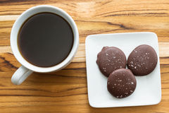 Fresh coffee and caramels Stock Image