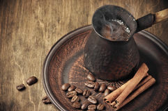 Fresh coffee in cezve Royalty Free Stock Photography