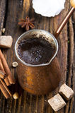 Fresh coffee in cezve Stock Photography