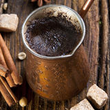 Fresh coffee in cezve Royalty Free Stock Photo