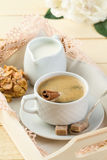 Fresh coffee with cinnamon, milk, sugar and cookies Royalty Free Stock Images
