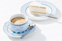Fresh coffee and cream gateau stock images