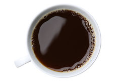Fresh coffee in a cup from above Royalty Free Stock Photo