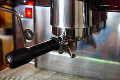 fresh coffee from espresso machine Royalty Free Stock Photography