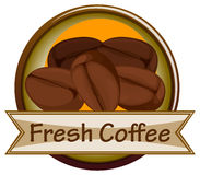 A fresh coffee label with coffee Royalty Free Stock Image
