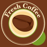A fresh coffee label with coffee bean Stock Image