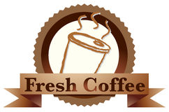 A fresh coffee label with a disposable coffee glass Stock Photos