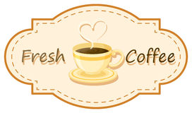 A fresh coffee logo with a cup of brewed coffee Stock Photo
