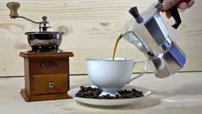 Fresh coffee machine coffee at the time of drinking. stock video footage