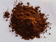 Fresh Coffee Powder. Some coffee powder that has just been refined using a grinding machine royalty free stock photo