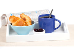 Fresh coffee and tasty croissant Stock Photo