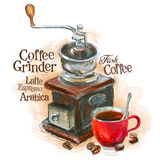 Fresh coffee vector logo design template. grinder Stock Images