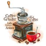 Fresh coffee vector logo design template. grinder royalty free illustration