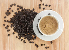 Fresh coffee in a white cup Royalty Free Stock Photos