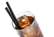 Fresh coke with black straw, summer time Stock Photo