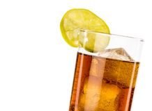 Fresh coke with lime slice isolated, summer time Royalty Free Stock Photography