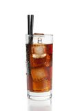Fresh coke with straw isolated, summer time Royalty Free Stock Photography